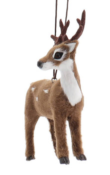 Set of 2 Furry Spotted Brown Buck - Deer Ornaments Buck Front