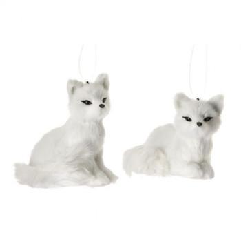 "Set of 2 Furry Arctic White Fox Ornament, 4 1/4 - 4 1/2"", RGMTX56451"
