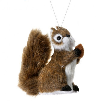 Sitting Up Furry Brown Woodland Squirrel Ornament Bendable Tail, 4 3/8, RGMTX53014