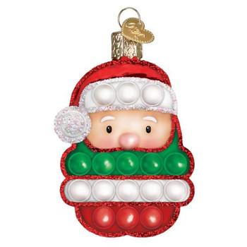 "Santa Fidget Popper Toy Glass Ornament, 4 1/4"", OWC# 44184"
