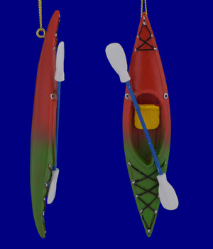Colorful Sit-In Kayak Ornaments Red Green Front Side