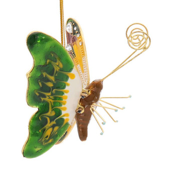 Cloisonne Articulated Butterfly Ornament, Yellow Multi Right Side
