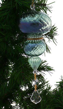 """3 Layer Swirl Egyptian Glass Ornament - Green with Crystal Drop, 8 3/4"""", #EM6992"""