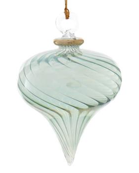 Twisty Swirl Mouth-blown Egyptian Glass Ornament - Green