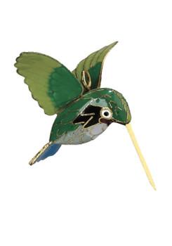"Cloisonne Hummingbird Ornament - Green, Small 2"", KU16169"