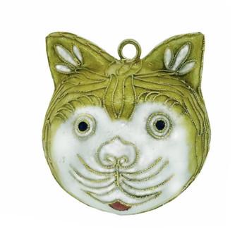 """Cloisonne Golden Cat Head Ornament,  2 1/4"""", KU16171"""
