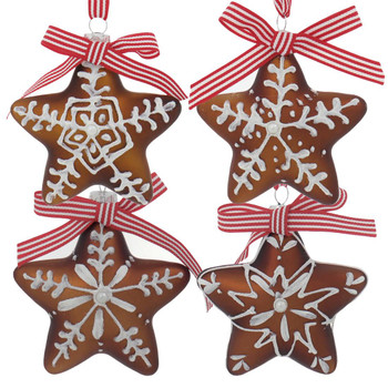 Set of 4 Gingerbread Cookie Star Glass Ornaments