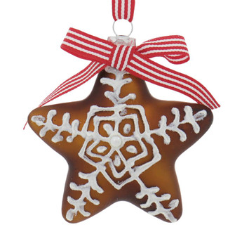 Set of 4 Gingerbread Cookie Star Glass Ornaments Style A Front