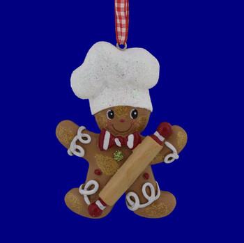 Boy Gingerbread with Rolling Pin Ornament