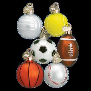 """Set of 6 Miniature Sports Balls Glass Ornaments,  1 1/2"""" x 2"""", OWC # 44023 Set"""
