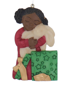Flat Back Christmas Morning African American Girl Ornament rabbit front