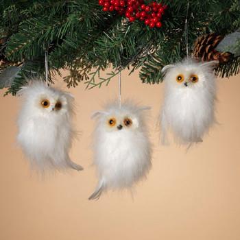 White Fluffy Feathers Sisal Eyes Owl Ornament