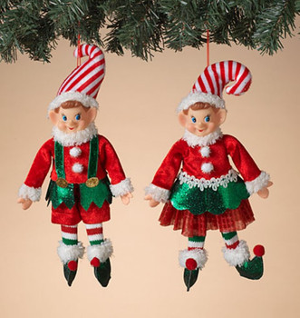 """Set of 2 Male and Female Red, White and Green Elf Doll Ornaments, Shelf Sitters, 12"""", ST2617580 Set"""