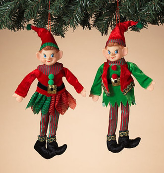"""Set of 2 Male and Female Sheen Red Hat Elf Doll Ornaments, Shelf Sitter Decor, 12"""", ST2617590 Set"""