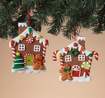 """Flat Back Decorated Gingerbread House Cookie Ornament, 4 1/4"""", ST2597170"""
