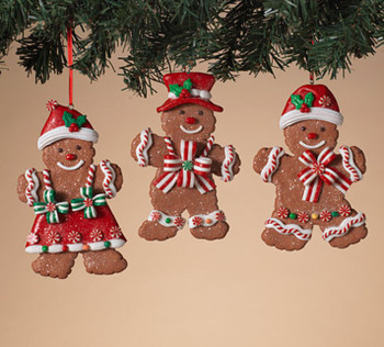 """Set of 3 Frosted Sparkle Gingerbread Cookie Ornaments, 5"""", ST2599340 SEt"""