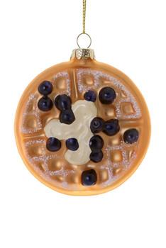 Blueberry Waffle Glass Ornament