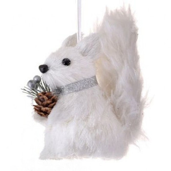 Fluffy Tail White Sisal Arctic Squirrel Ornament