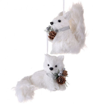 Set of 2 Fluffy Tail White Sisal Arctic Fox and Squirrel Ornaments