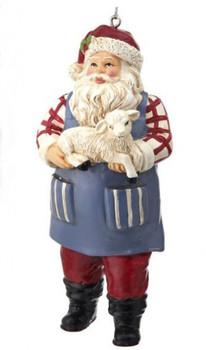 Farmer Santa with Baby Lamb Ornament