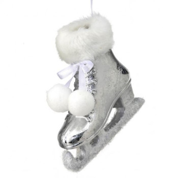 Silver Woman's Ice Skate Ornament