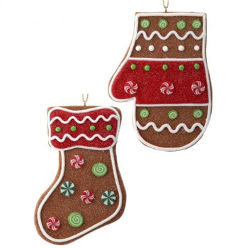 Set of 2 Large Winter Attire Ginger Cookie Ornaments