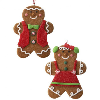 Set of 2 Frosted Gingerbread Boy or Girl Cookie Ornaments