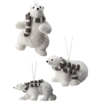Flocked Polar Bear with Scarf Ornament