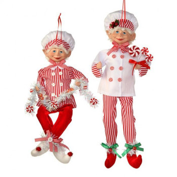 Set of 2 Candy Chef Bendable Elf Doll Ornaments