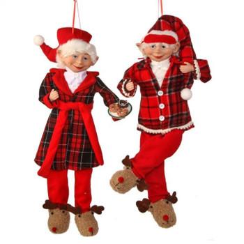 Reindeer Slippers Bedtime Bendable Elf Doll Ornament
