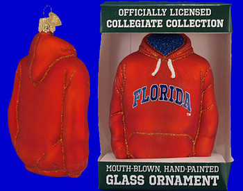 University of Florida Hoodie Old World Christmas Glass Ornament 64403 inset