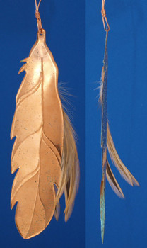 Copper Indian Feather Southwestern Ornament inset