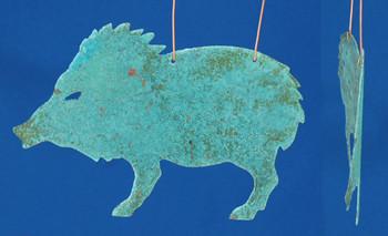 Verdigris Copper Javelina Ornament inset
