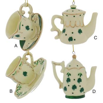 Irish Teacup, Teapot Ornaments