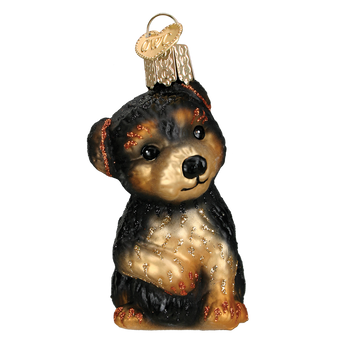 Yorkie Puppy Glass Ornament