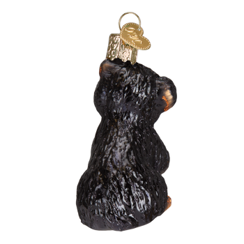 Yorkie Puppy Glass Ornament back