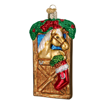 Horse in Stall Glass Ornament