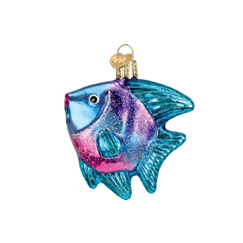 Tropical Angel Fish Glass Ornament  Blue Face