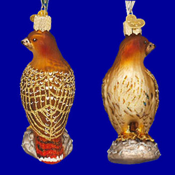 Red Tailed Hawk Old World Christmas Glass Ornament 16064 inset