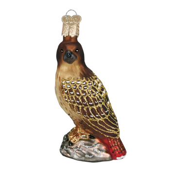 Red-Tailed Hawk Glass Ornament