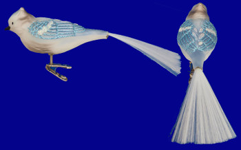 Blue Jay Clip On Bird Old World Christmas Glass Ornament 18030 inset