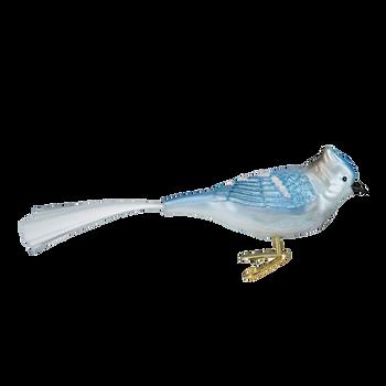 Blue Jay Clip-On Bird Glass Ornament