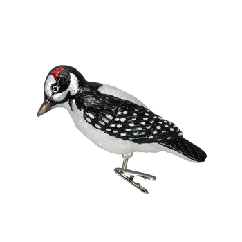 Hairy Woodpecker Clip-On Glass Ornament