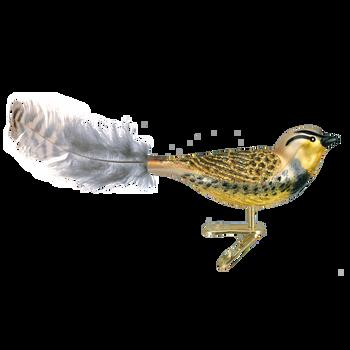 Meadowlark Clip-On Bird Glass Ornament