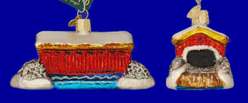 Covered Bridge Old World Christmas Glass Ornament 20036 inset