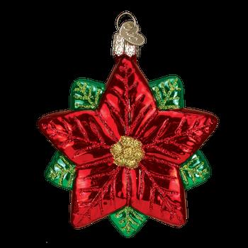 Poinsettia Star Flower Glass Ornament