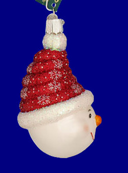 Glistening Candy Coil Snowman Old World Christmas Glass Ornament 24100 inset