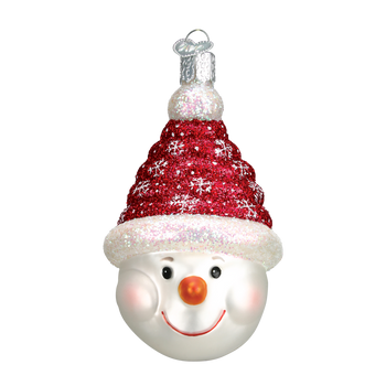 Glistening Candy Coil Snowman Glass Ornament