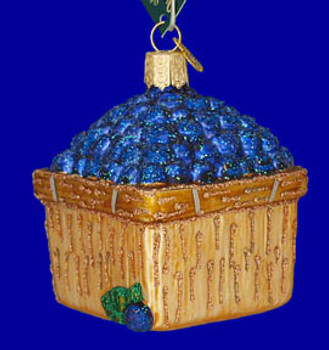 Basket of Blueberries Old World Christmas Glass Ornament 28102 inset