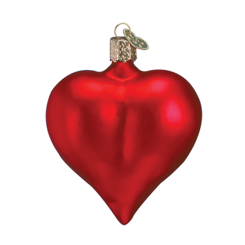 Large Matte Red Heart Glass Ornament